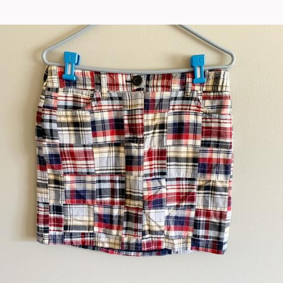 Loft patchwork madras red plaid mini cotton skirt